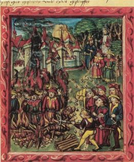 494px-Medieval_manuscript-Jews_identified_by_rouelle_are_being_burned_at_stake